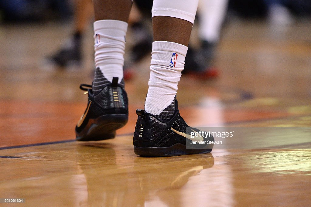 A detail view of Devin Booker #1 of the Phoenix Suns Nike sneakers in the NBA game against the Los Angeles Clippers at Talking Stick Resort Arena on April 13, 2016 in Phoenix, Arizona. The Suns defeated the Clippers 114 - 105.