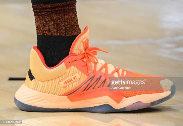 A detail view of Donovan Mitchell of the Utah Jazz's shoes before a game against the Toronto Raptors at Vivint Smart Home Arena on March 9 2020 in...