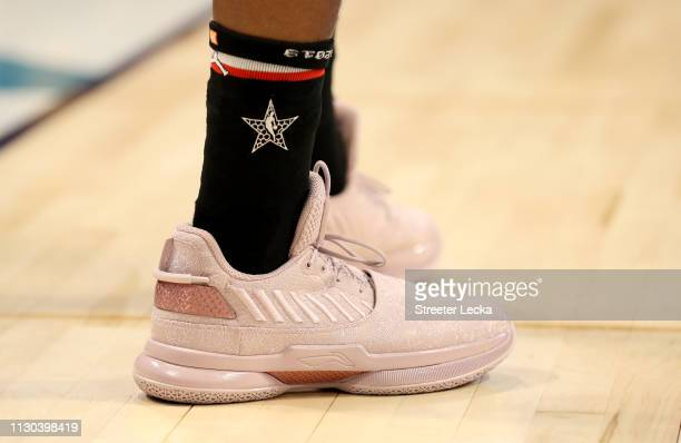 A detail view of Dwyane Wade of the Miami Heat and Team LeBron shoes during the NBA AllStar game as part of the 2019 NBA AllStar Weekend at Spectrum...