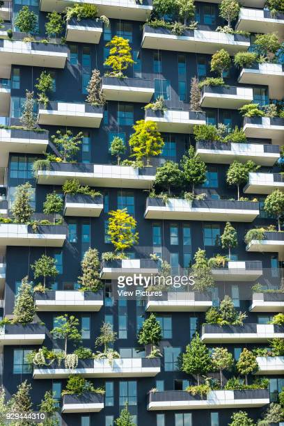 Detail view of facade and vegetation Vertical Forest Milan Italy Architect Stefano Boeri Architetti 2014