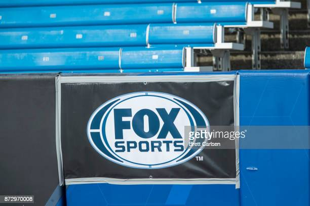 Detail view of Fox Sports broadcasting banner attached to the padded walls before the game between the Buffalo Bills and the Tampa Bay Buccaneers at...