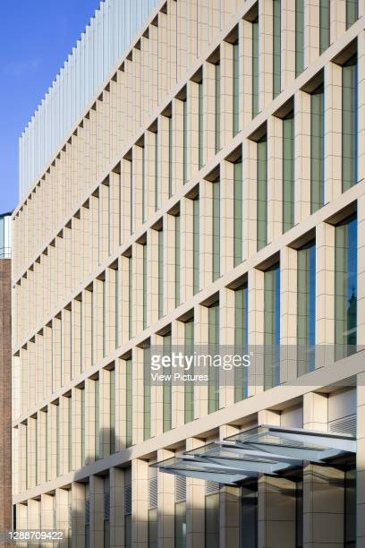 Detail view of front facade. Farringdon East Offices, Barbican, United Kingdom. Architect: PLP Architecture, 2020.