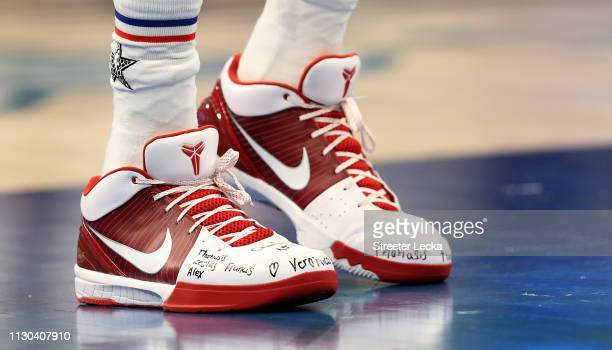 A detail view of Giannis Antetokounmpo of the Milwaukee Bucks and Team Giannis shoes during the NBA AllStar game as part of the 2019 NBA AllStar...