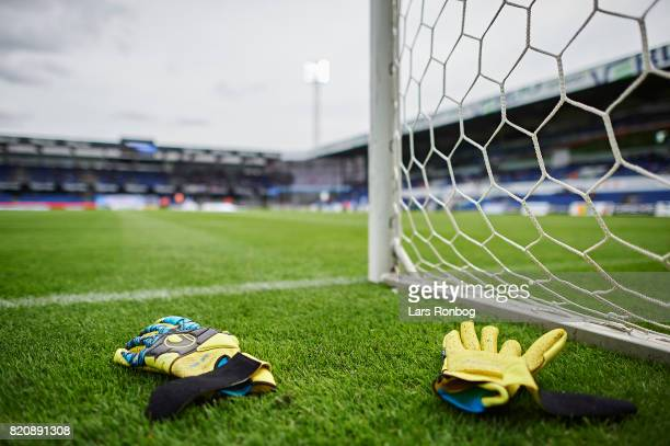 Detail view of goalkeepers gloves on the pitch prior to the Danish Alka Superliga match between Randers FC and FC Copenhagen at BioNutria Park on...