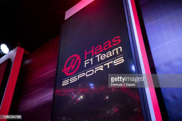 Detail view of Haas F1 Team Esports signage during round 1 of the F1 Esports Pro Series at GFinity Arena on October 14, 2020 in Fulham, England.