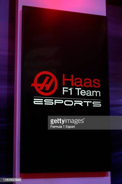 Detail view of Haas F1 Team Esports signage during the Round 2 of the F1 Esports Pro Series at GFinity Arena on November 04, 2020 in Fulham, England.