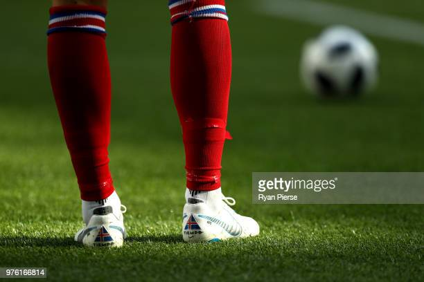 A detail view of Hannes Halldorsson of Iceland's football boots during the 2018 FIFA World Cup Russia group D match between Argentina and Iceland at...