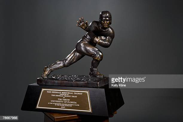 Detail view of he 2007 Heisman Trophy awarded to quarterback Tim Tebow of the University of Florida on December 8 2007 in New York City