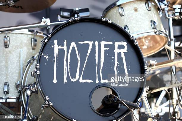 Detail view of Hozier's bass drum is seem on stage before he performs during day three of the 2019 Newport Folk Festival at Fort Adams State Park on...