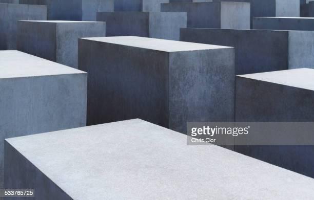 Detail view of industrial block sculpture