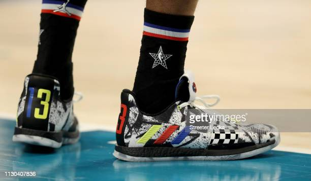 A detail view of James Harden of the Houston Rockets and Team LeBron shoes during the NBA AllStar game as part of the 2019 NBA AllStar Weekend at...