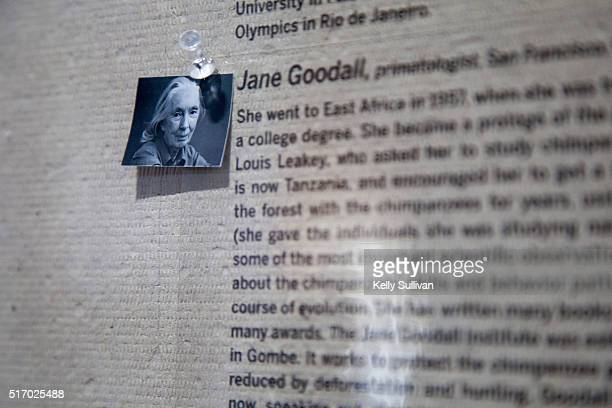 Detail view of Jane Goodall's photo and biography in 'WOMEN New Portraits' commissioned by UBS at the Presidio's Crissy Field on March 22 2016 in San...