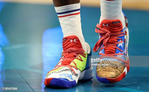 A detail view of Joel Embiid of the Philadelphia 76ers and Team Giannis shoes during the NBA AllStar game as part of the 2019 NBA AllStar Weekend at...