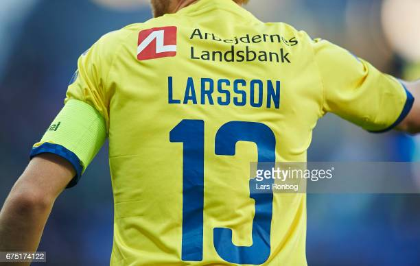 Detail view of Johan Larsson of Brondby IF and his captains armband during the Danish Alka Superliga match between Brondby IF and Sondejryske at...