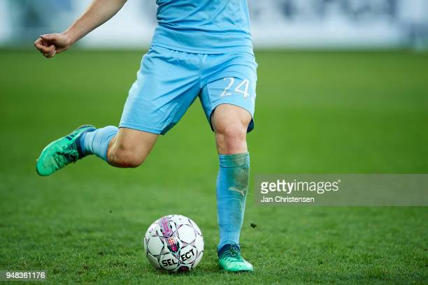 Detail view of Jonas Bager of Randers FC controlling the ball during the Danish Alka Superliga match between Randers FC and OB Odense at BioNutria...