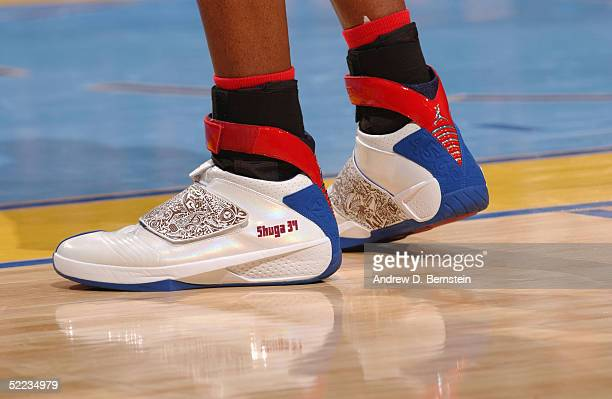 A detail view of Jordan XX Sneakers worn by Ray Allen of the Western Conference AllStars are seen in the 54th AllStar Game part of 2005 NBA AllStar...