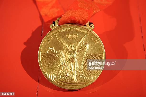 Detail view of Katie Smith of the Detroit Shock Gold Medal that she received at the 2008 Summer Olympics with the USA Women's Basketball Team prior...