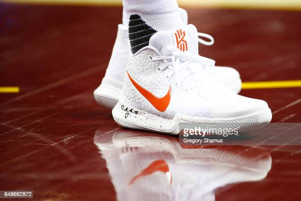 A detail view of Kyrie Irving of the Cleveland Cavaliers shoes while playing the Oklahoma City Thunder at Quicken Loans Arena on January 29 2017 in...