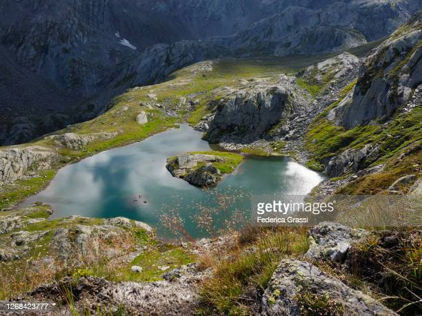 detail view (no sky) of lago laiozz in the naret region of southern switzerland - ascona stock pictures, royalty-free photos & images