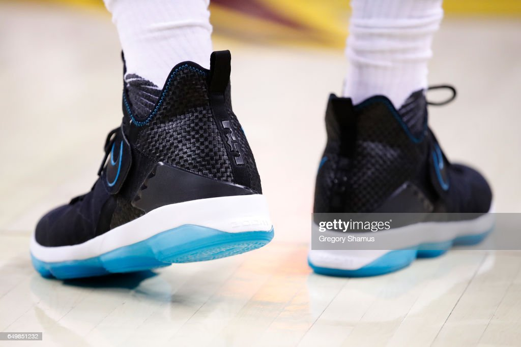 9aeafd6f7eb Detail view of LeBron James of the Cleveland Cavaliers LeBron 14 ...