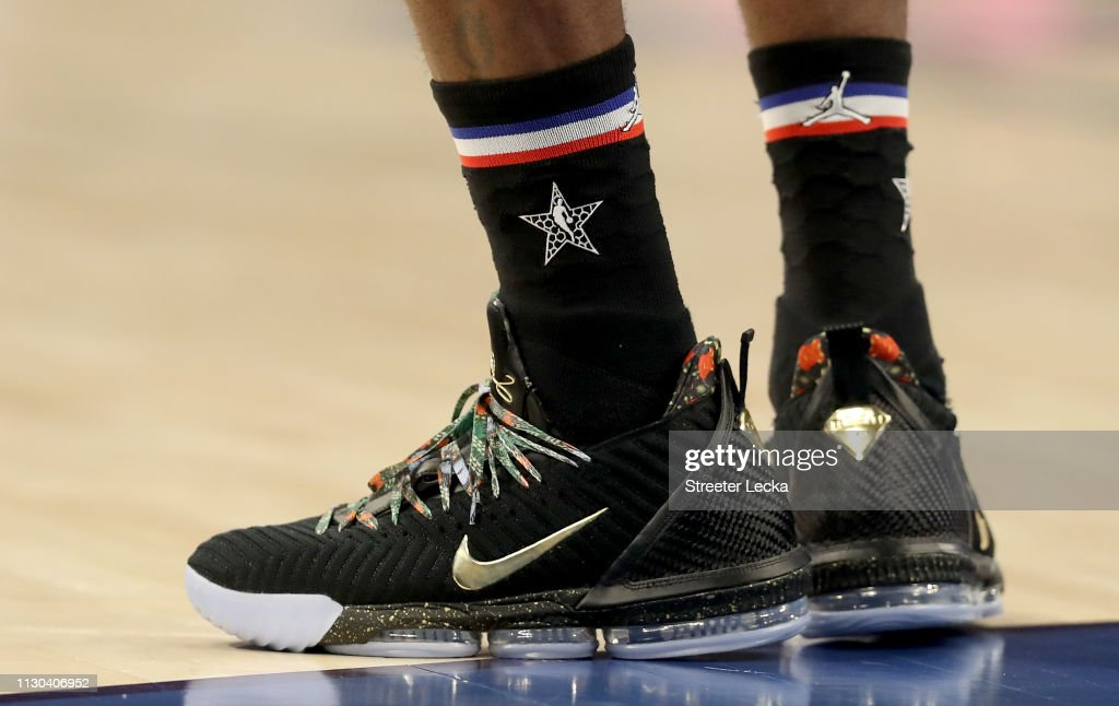 A detail view of LeBron James of the LA Lakers and Team LeBron shoes ... b2e3f37970e6