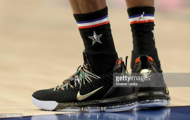 A detail view of LeBron James of the LA Lakers and Team LeBron shoes during the NBA AllStar game as part of the 2019 NBA AllStar Weekend at Spectrum...
