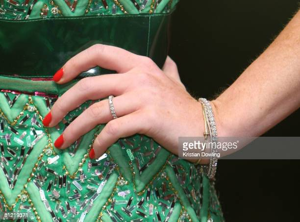 A detail view of Lindsay Lohan's ring is seen as she attends the Dolce Gabbana party at Baoli Port Canto during the 61st International Cannes Film...