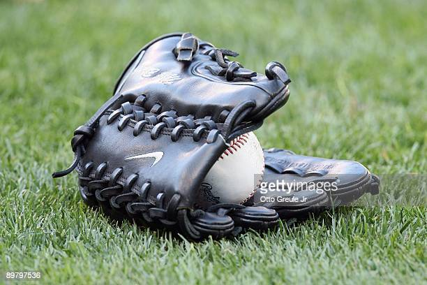 Detail view of Mark Buehrle's glove with ball is shown before the Chicago White Sox game against the Seattle Mariners on August 12 2009 at Safeco...