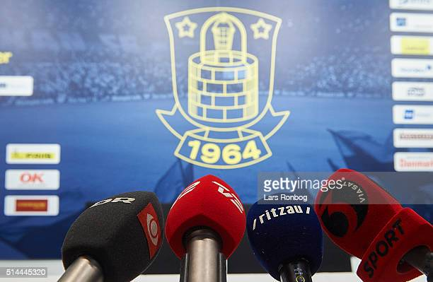 Detail view of microphones and the Brondby IF logo prior to the Brondby IF Press Conference at Brondby Stadion on March 9, 2016 in Brondby, Denmark.
