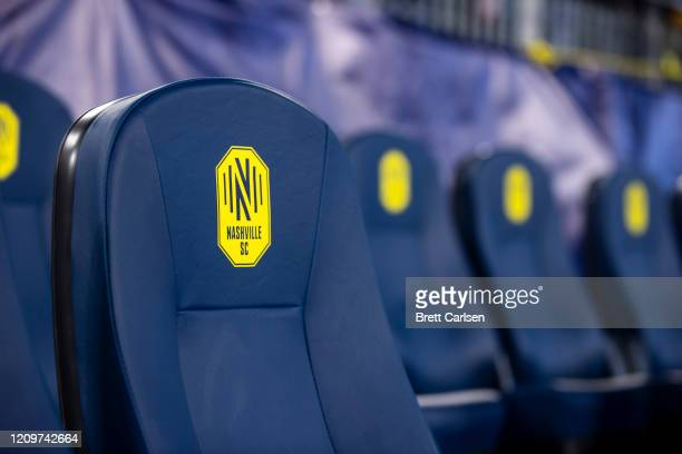 Detail view of Nashville SC logo on player seats before the match against the Atlanta United at Nissan Stadium on February 29, 2020 in Nashville,...