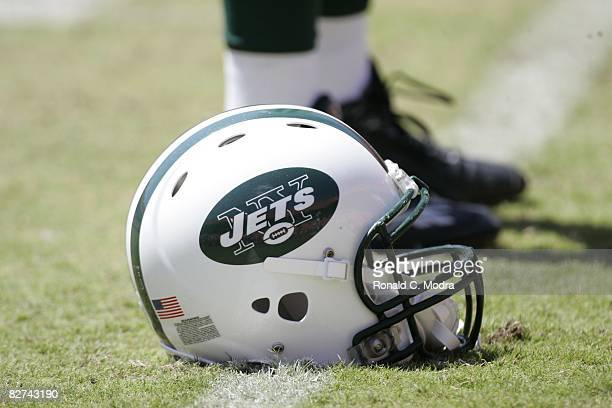 Detail view of New York Jets football helmet on the field during the NFL game between the New York Jets and the Miami Dolphins on September 7 2008 at...