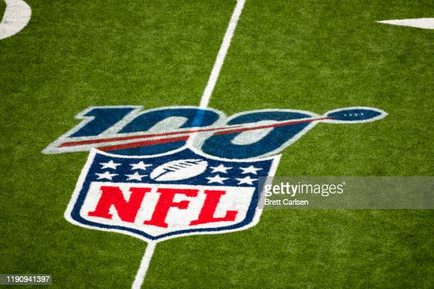 Detail view of NFL shield logo and 100 year celebration logo on the field at New Era Field during the game between the Buffalo Bills and the Denver...