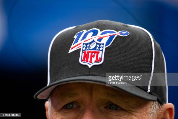 Detail view of NFL shield logo on a refereeu2019s hat before the game between the Buffalo Bills and the Denver Broncos at New Era Field on November...