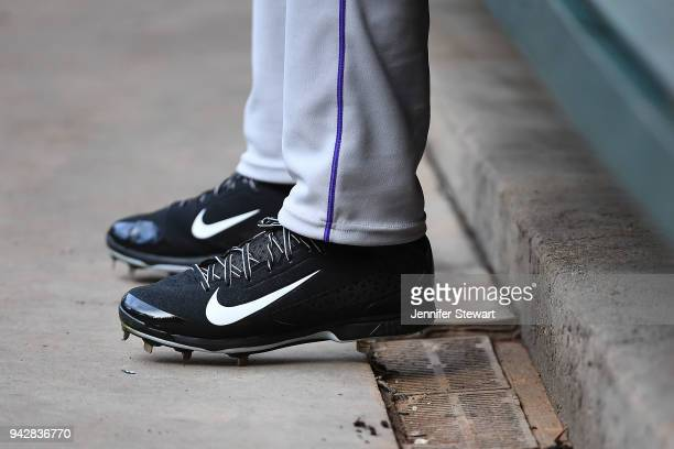Detail view of Nike baseball cleats worn by Charlie Blackmon of the Colorado Rockies prior to the MLB game against the Arizona Diamondbacks at Chase...