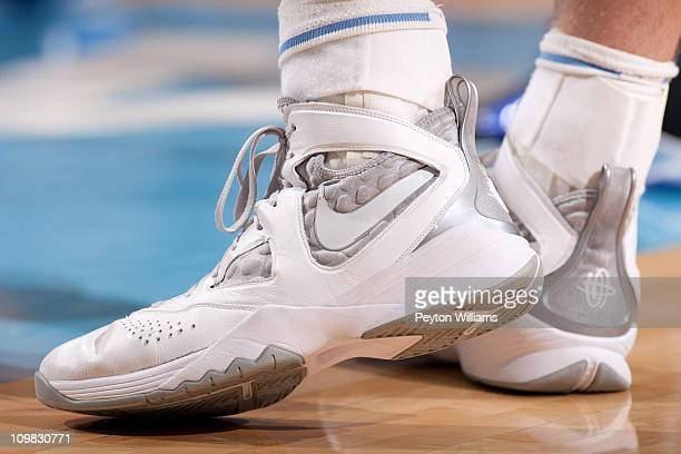 A detail view of NIKE basketball shoes worn by Tyler Zeller of the North Carolina Tar Heels on March 05 2011 at the Dean E Smith Center in Chapel...