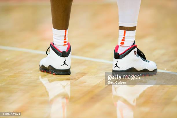 Detail view of Nike Jordan logo on basketball shoes worn by a player during the game between the Syracuse Orange and the Virginia Cavaliers at the...