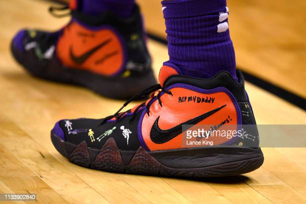 A detail view of Nike shoes worn by Javonte Smart of the LSU Tigers in the first half of their game against the Michigan State Spartans during the...
