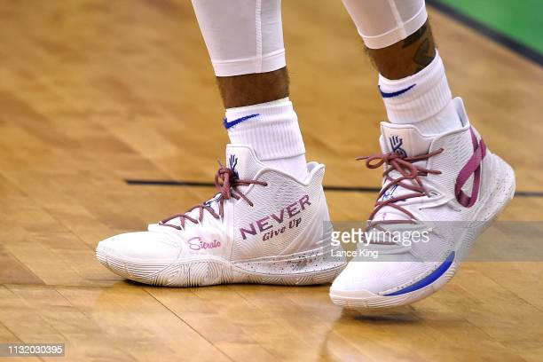 A detail view of Nike shoes worn by Tre Jones of the Duke Blue Devils prior to their game against the North Dakota State Bison during the first round...