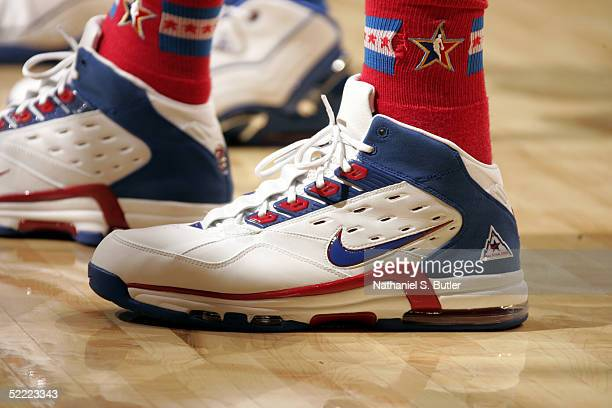 A detail view of Nike sneakers worn by Dirk Nowitzki of the Western Conference AllStars are seen during the 2005 NBA AllStar Game at The Pepsi Center...
