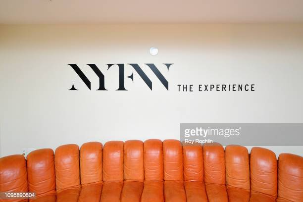 Detail view of NYFW Branding in the Gallery I Skybox Lounge in Spring Studios during New York Fashion Week: The Shows at Spring Studios on February...