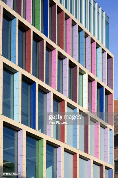 Detail view of office with coloured terracotta tiles. Farringdon East Offices, Barbican, United Kingdom. Architect: PLP Architecture, 2020.