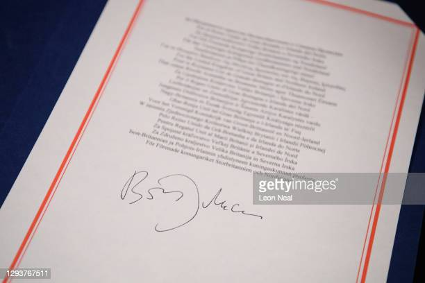 Detail view of one of the documents signed by Prime Minister, Boris Johnson from the Brexit trade deal with the EU after the formal signing in number...