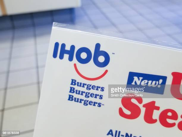 Detail view of paper with IHoB logo following pancake restaurant International House of Pancake's decision to change its name to IHoB Dublin...