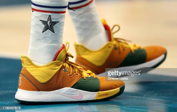 A detail view of Paul George of the Oklahoma City Thunder and Team Giannis shoes during the NBA AllStar game as part of the 2019 NBA AllStar Weekend...