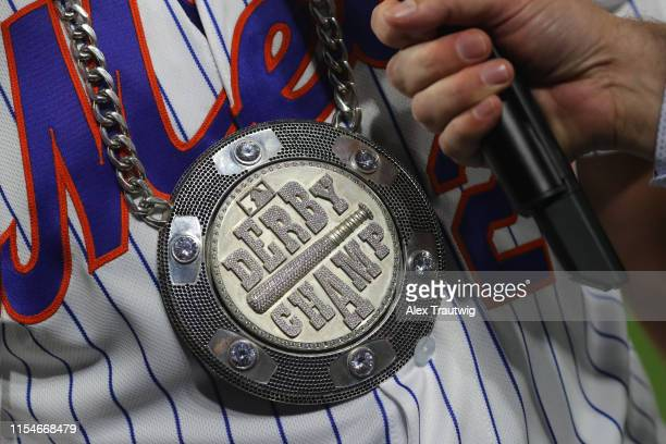 Detail view of Pete Alonso of the New York Mets chain during the TMobile Home Run Derby at Progressive Field on Monday July 8 2019 in Cleveland Ohio