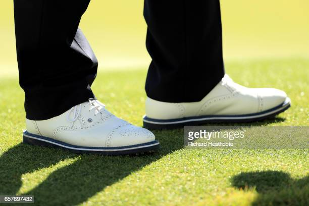 A detail view of Phil Mickelson's shoes on the 15th hole of his match during round four of the World Golf ChampionshipsDell Technologies Match Play...