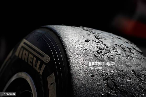 Detail view of Pirelli tyres following the British Formula One Grand Prix at Silverstone Circuit on June 30 2013 in Northampton England