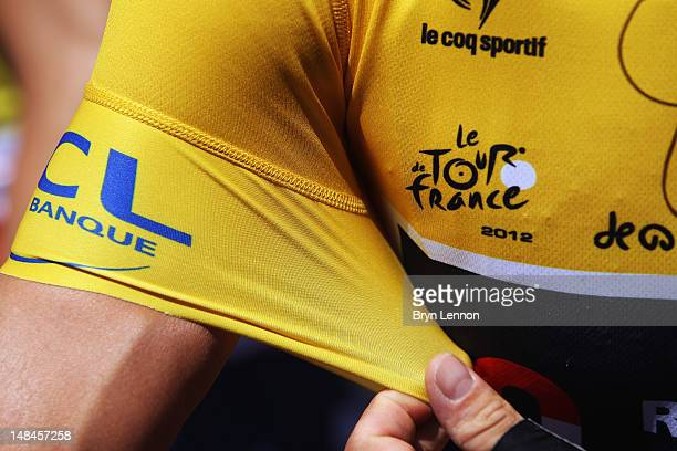 A detail view of race leader Fabian Cancellara's yellow jersey at the start of stage five of the 2012 Tour de France from Rouen to SaintQuentin on...