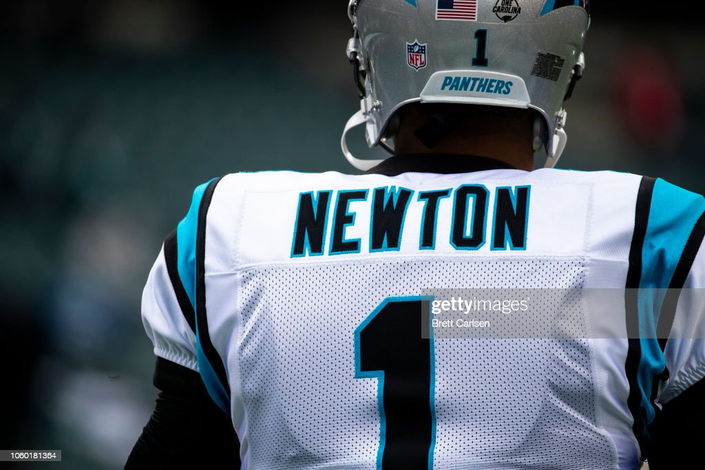 on sale 33338 4505d Detail view of rear name plate on the jersey of Cam Newton ...