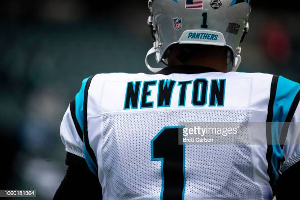 Detail view of rear name plate on the jersey of Cam Newton of the Carolina Panthers before the game against the Philadelphia Eagles at Lincoln...